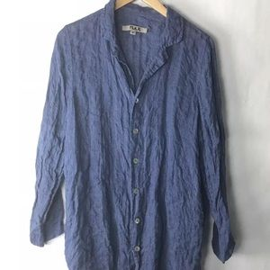 Flax linen button down shirt blue loose fit 4/6